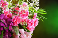 Composition with bouquet of freshly cut flowers.