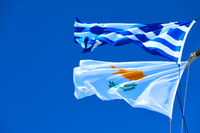 Waving Greek and Cyprian flags