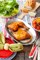 Colorful picnic with grilled chicken
