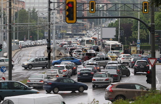 Traffic jam in the rush hour Bulgaria Sofia