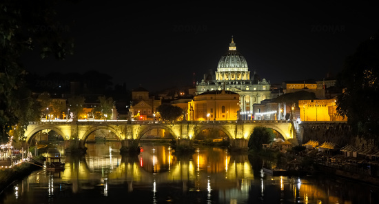 Vatican City: Saint Peter with bridge reflection by night