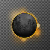 Realistic eclipse with realistic satellite moon and star sun on transparent