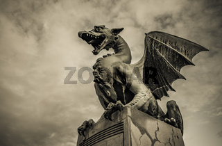 Sculpture of dragon on Dragon bridge in Ljubljana, Slovenia