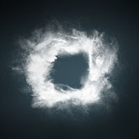 Abstract design of white powder particles explosion over dark background