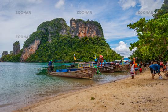 Boats on the sandy beach, Krabi