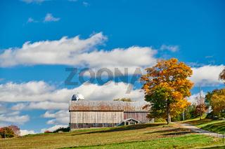 Farm with barn at sunny autumn day