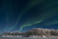 Northern lights, Muonioaelven river, Karesuando, Lapland, Sweden