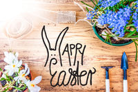 Sunny Spring Flowers, Calligraphy Happy Easter, Wooden Background