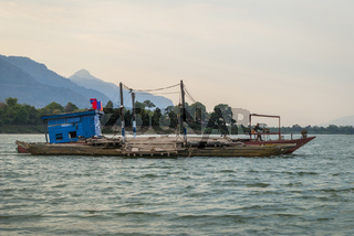 Ferry over Mekong river, Laos