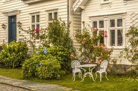 A Seat In The  Garden Old Town Stavanger Norway