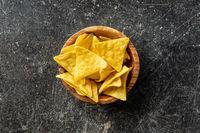 Corn nacho chips. Yellow tortilla chips