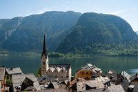 Hallstatt, Salzkammergut, Austria, View of Hallstatt with the lake and mountains in the backdrop