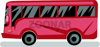 Side view vector illustration of red bus on white background.