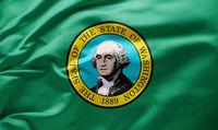Waving state flag of Washington - United States of America