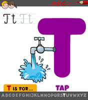 letter T educational worksheet with cartoon tap