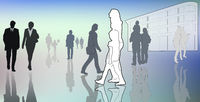 illustrated casual people in town, contour, silhouettes, white, grey, color