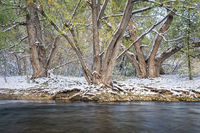first snow on a river