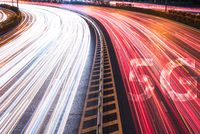 5G new wireless internet wifi connection on cars light trails