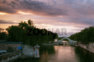 Changzhou, China Landscape Old Bridge River Asian Tradition Heritage Travel Location Sunset
