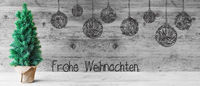 Tree, Ball, Frohe Weihnachten Means Merry Christmas, Gray Wood