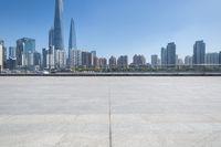 shanghai cityscape with empty floor
