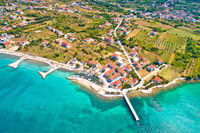 Zaton emerald beach and harbor aerial view
