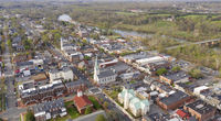 Beautiful Colorful Aerial Perspective Over Downtown Fredricksburg Virginia