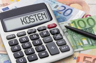 Calculator with money - Kosten (German word for Costs)