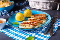 thuringian bratwurst with sauerkraut and dumplings