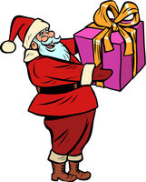 Santa Claus with gift box. Christmas and New year
