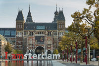 The Rijksmuseum Amsterdam museum area with the words IAMSTERDAM in Amsterdam, Netherlands