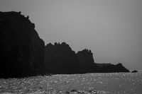 coastline in black and white