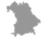 Karte von Bayern auf feinem Gewebe - Map of Bavaria on cloth with stitches