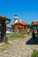 Lighthouse on the island of St. Anastasia in the Burgas Bay of the Black Sea.