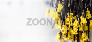 Wiring harnesses, automobile industry, production. Industrial background with copy space, banner