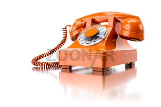 old orange dial-up phone