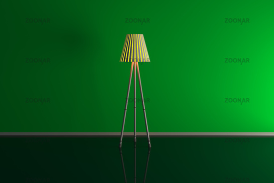 3d illustration of a lamp in a green room