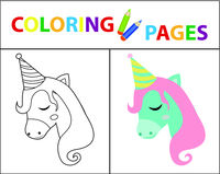 Coloring book page for kids. Birthday unicorn. Sketch outline and color version. Childrens education. Vector illustration.