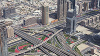 Modern urban multi-level road junctions in Downtown Dubai view from the top stock footage video