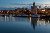 Golden Tower (Torre del Oro) at Guadalquivir River, Seville, Andalusia, Spain, Europe