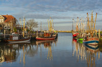 Fishing port and fishing boat in the evening sun.