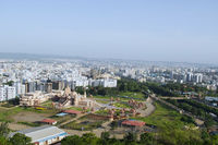 Swaminarayan temple aerial view from the hill, Pune, Maharashtra, India.
