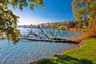 Lake Luzern idyllic coastline summer view