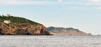 Northern rocky coast of Ibiza Island. Balearic island, Spain