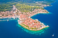 Historic town of Korcula aerial panoramic view