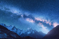 Space. Night landscapw with Milky Way and mountains in Nepal