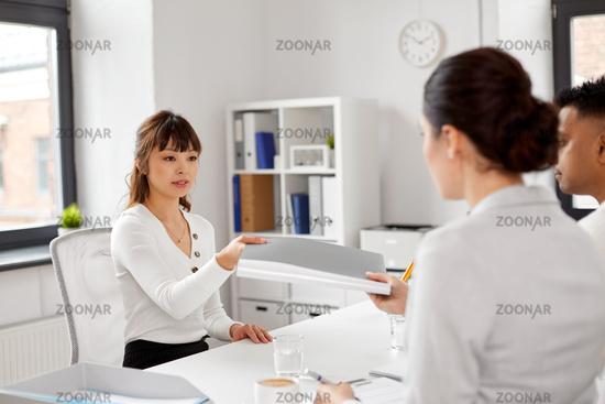 employee having job interview with recruiters