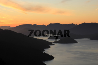 Sunset scene in the Marlborough Sounds, New Zealand.