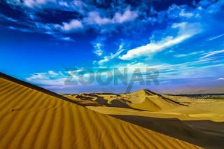 The sand dune desert near the oasis of Huacachina