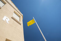 Yellow flag on beach